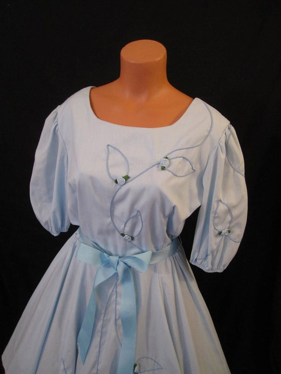 BABY BLUE rockabilly Square Dance Dress - embellished rosette - full circle skirt sz 12 M