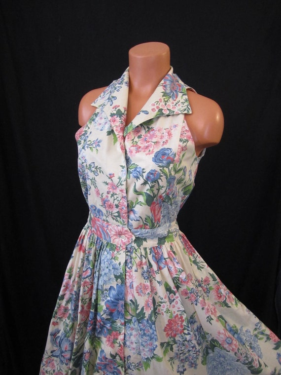GARDEN PARTY charming shirt dress - long full skirt - pink blue cotton sz s