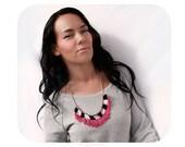 Pink fringe necklace, pink necklace, pinkalicious necklace, fuchsia necklace, magenta necklace, bib necklace