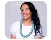 "Green pearl necklace, big pearl necklace, huge pearl necklace, statement necklace, ""Scylla"""