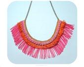 Pink and orange fringe necklace