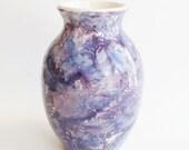Ceramic Vase White with Blue and Purple Engobe