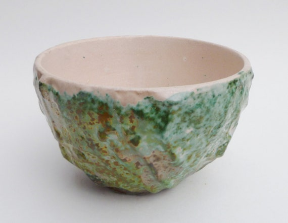 Textured Raku Bowl Green and White Home Decor