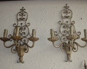 Pair of French country iron wall lights sconces circa 1930