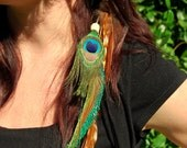 Peacock And Grizzly Feather Hair Clip/Extension