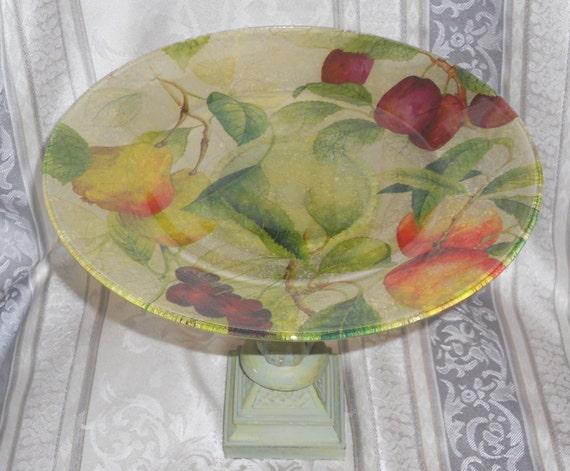 Cake Stand, Cupcake Stand, Dessert Pedestal, Fruit Bowl,  LUSCIOUS FRUIT Decoupage Glass. Home Decor, Kitchen Decor