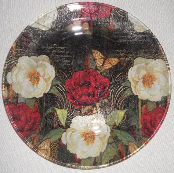 "Romantic Roses DecorROSES NOIR Decorative Decoupage Glass Plate Vintage Victorian Look Red White Roses Black 10.5"" Semi Transparent Plate"