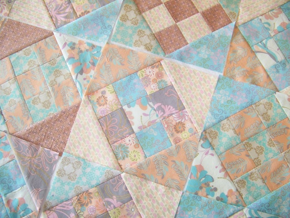 40 New Quilt Blocks - Peach and Teal Collection - Crossroads to Jericho Block Pattern - Janipotts Dry Goods