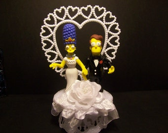 The Simpsons Bride and Groom Funny Wedding Cake Topper