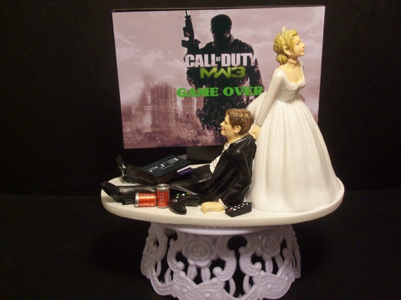 Video Game Call of Duty Modern War 3 MW3 Bride and Groom Funny Wedding Cake Topper