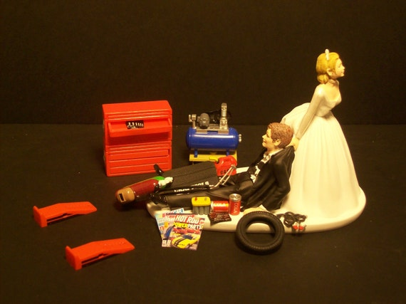 NEW AUTO MECHANIC Bride and Groom Wedding Cake Topper Tools Funny