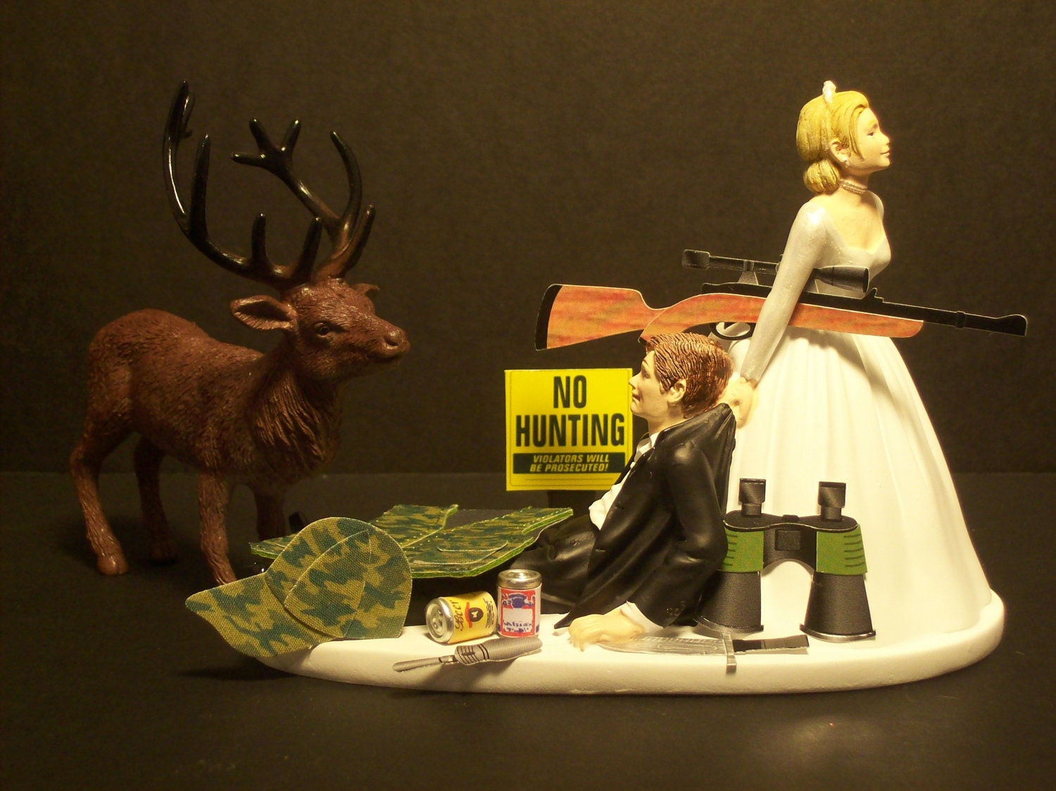 NO HUNTING DEER Bride And Groom Wedding Cake Topper By Mikeg1968