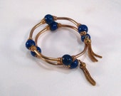 Reserved for Jane Vintage Bracelet Lapis Lauzli Beads, Gold Tone, Tube Beads, Tassels Memory Wire