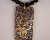 Bronzed Branches - a polymer clay, gold and black Chinese and Czech glass beaded necklace