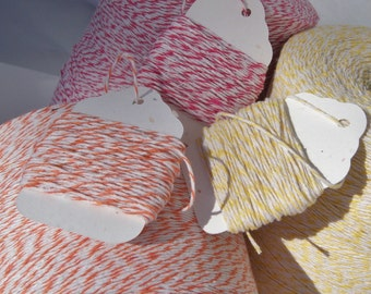 Bakers Twine - Sorbet Pack - Three Colors - Your Choice of Amount - Orange, Pink and Yellow