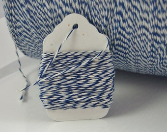 Bakers Twine - Royal Blue and White Bakers Twine (or your choice of 3-ply colors)  - Sample Sizes