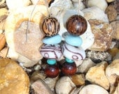 High Plains Romance - wooden, blue, white, brown, Earrings