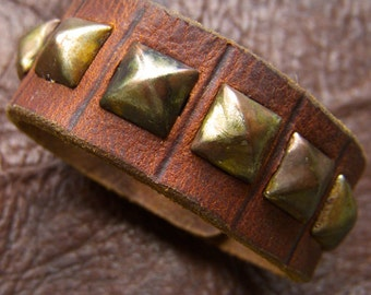 Pyramid Stud Cuff in Rust Brown Leather