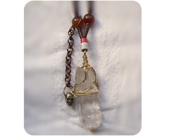 Wrapped Crystal Necklace with Skull