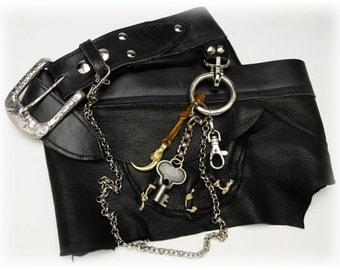 Black Leather Apron Belt