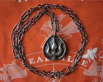 925 Solid Sliver Cast Medallion Pendant Shiva Trident
