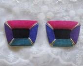 Suede Shoe Clips - Purple Pink Blue Teal Black - Vintage