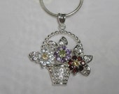 Flower Basket Necklace - Gemstone Floral Pendant Necklace - Sterling Silver - Genuine Amethyst Garnet Citrine Peridot Quartz Gems - Vintage