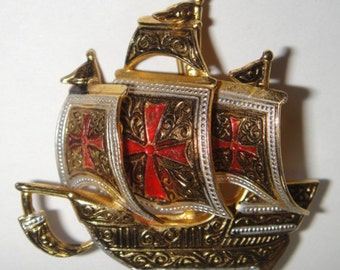 Damascene Ship Brooch Pin - Ornate and Unique Signed SPAIN Ship Pin
