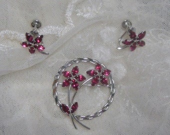 Sterling Silver Brooch and Earrings Set with Fuchsia Pink Rhinestones - Vintage