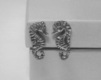 Sterling Silver Seahorse Earrings - 1950s - Vintage