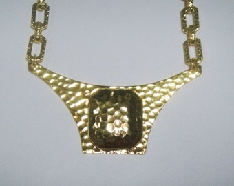 1960s Gold Plated Hammered Choker Necklace - Vintage