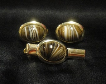 Marble Glass Cuff Links and Tie Bar SET - Goldplated - 1950s - Vintage