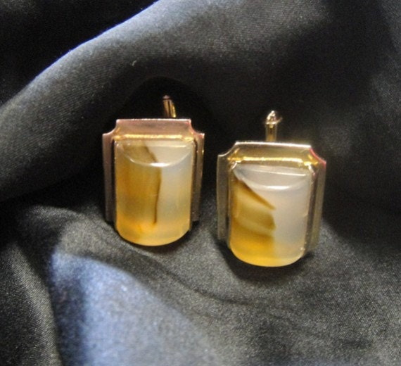 Agate Cuff Links - Vintage 1960s