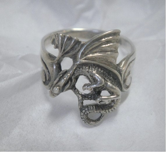 Dragon Sterling Silver Ring - Vintage