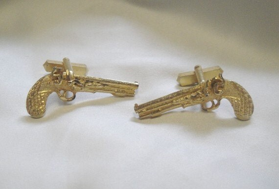 Gold Dueling Pistol Cuff Links - England - Vintage