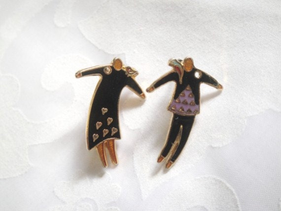 Rare Laurel Burch Man and Woman with Birds Earrings - Vintage - 1970s