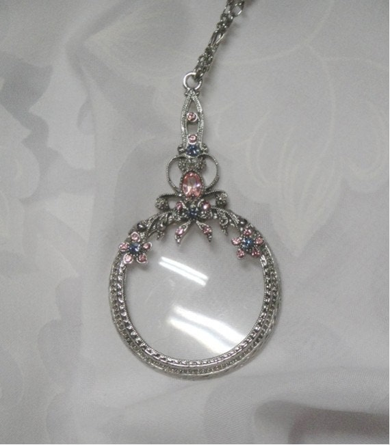 reserved for renee vintage magnifying glass pendant pink