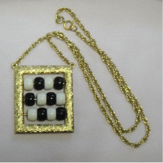 Vintage 1970s Abacus Necklace - Black and white and gold - Mod