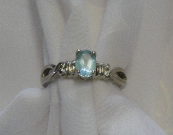 Antique Blue Topaz Ring Sterling Silver - 1920s Art Deco