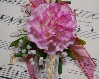 Handmade Polymer Clay Carnation Brooch - Life Like - Pink and White