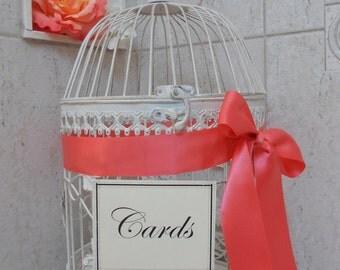 Large Round White Birdcage/Wedding/Card Holder