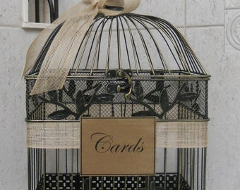 Large Card Box Wedding Card Holder / Birdcage Card Holder  Burlap Wedding / Rustic Wedding Decor