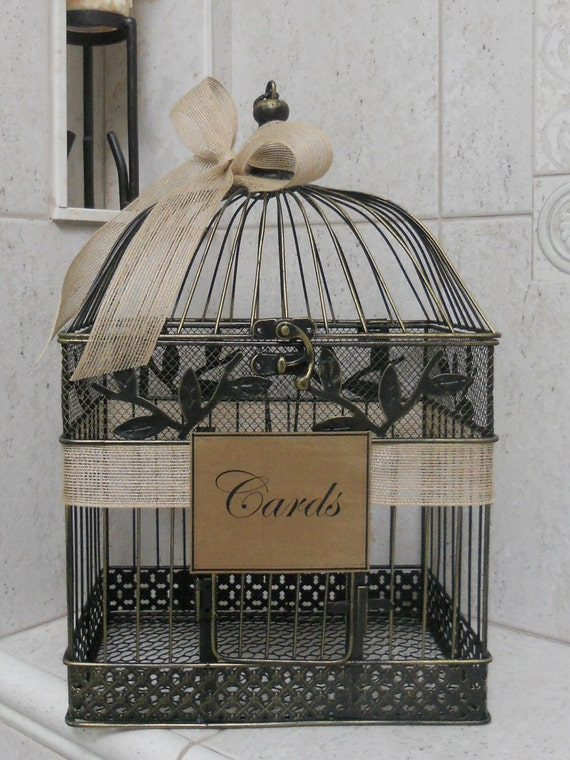 Birdcage For Wedding Gift Cards : Card Box Wedding Card Holder / Birdcage Card Holder Burlap Wedding ...