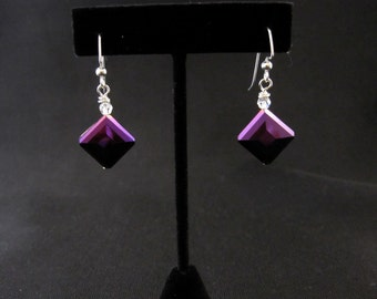 The Purple Square Earrings