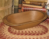 Primitive Wooden Bread/Candle Loaf Pan BOWL-Painted Antique MUSTARD-Country Decor-Wood