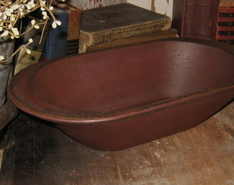 Primitive Wooden Bread/Candle Loaf Pan BOWL-Painted Antique BURGUNDY-Country Decor-Wood