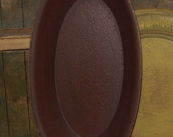 Wooden BOWL-Antique BURGUNDY-Primitive Country Kitchen Decor