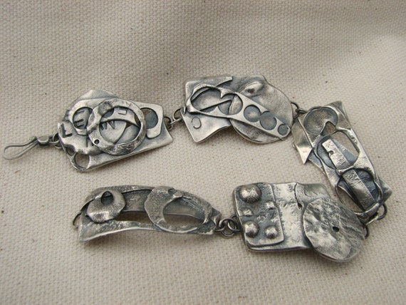 Recycled, Fused, Sterling Silver Bracelet