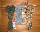 Macrame  OWL Wall Hanging - 3Perching - RETRO