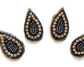 Drop Shaped Beaded Appliques Black 4 pcs Sparkling Rhinestone Chain Purl in GUNMETAL colored seed bead